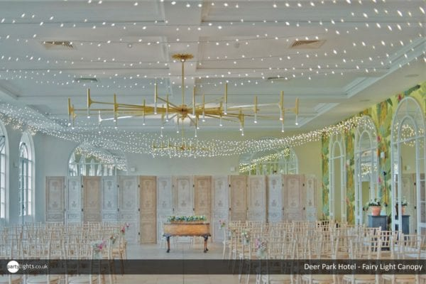 Fairy light canopy at Deer Park Hotel