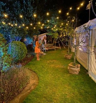 Festoon lights in garden