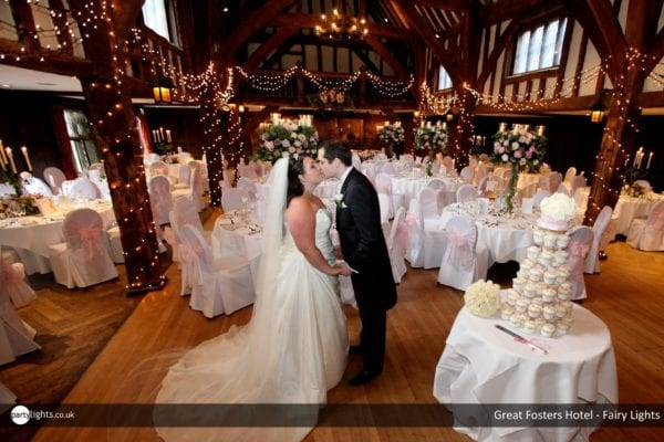 Fairy light wedding lights at Great Fosters Hotel