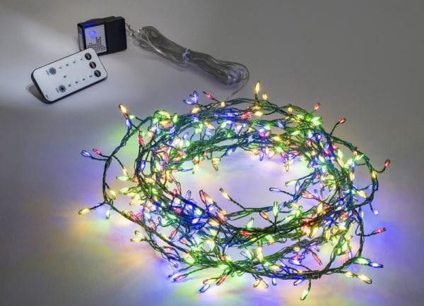 Green wire cluster lights multi coloured