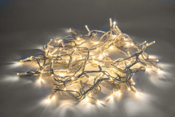 Led Dual colour fairylights white cable warm white