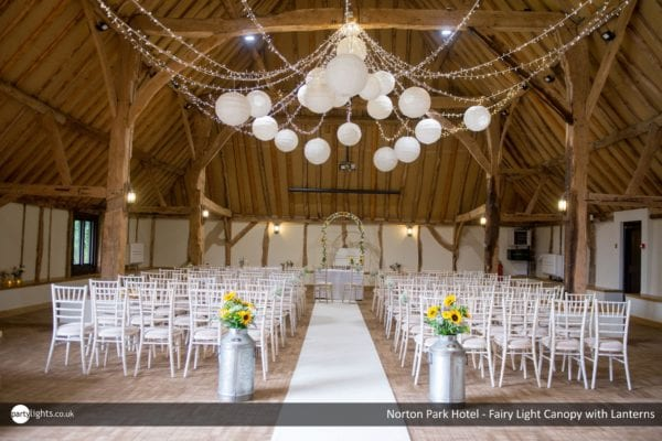Fairy light and lantern canopy at Norton Park Hotel