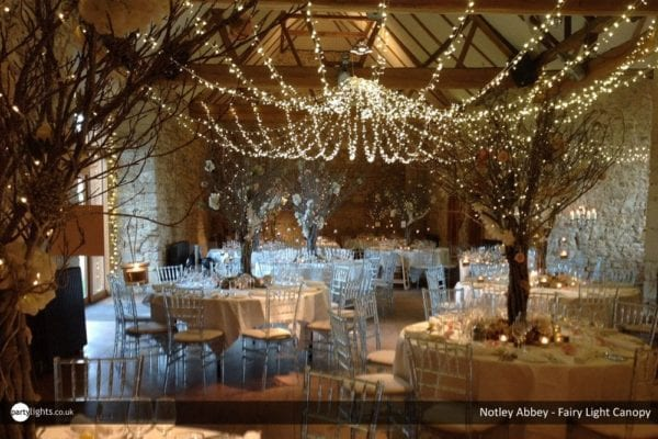 Notely Abbey - Fairy light canopy - wedding breakfast