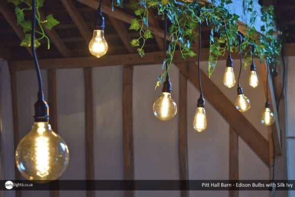 Staggered Edision Bulbs with silk ivy at Pitt Hall Barn