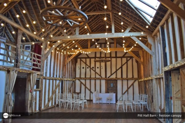 Festoon canopy at Pitt Hall Barn