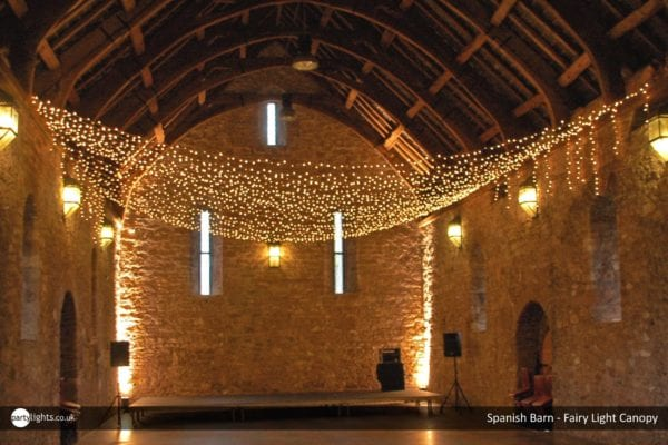 Fairy light canopy at Spanish Barn
