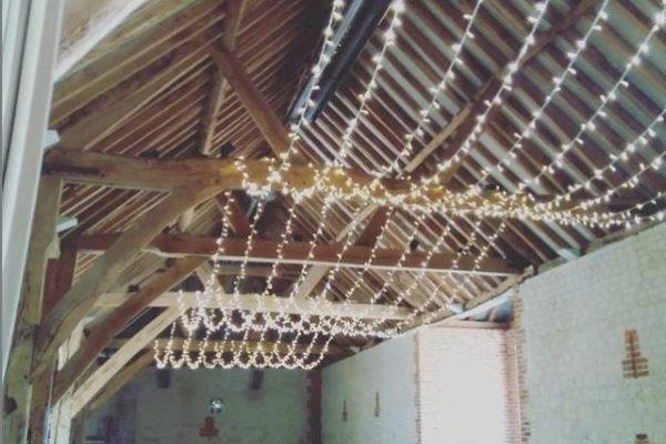 Fairy light canopy At Bury Court Barn