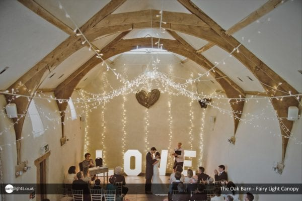 Fairy light canopy in The Oak Barn