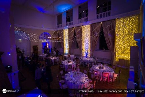 Farnham Castle - Wedding lights - Fairy light canopy and curtains
