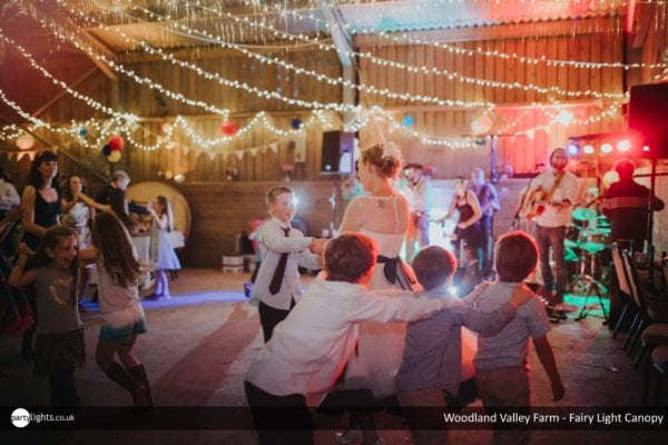 Fairy Light canopy at Woodland Valley Farm