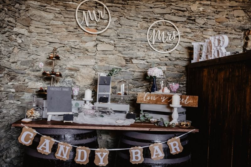 Wedding candy bar with sweet treats in a rustic style