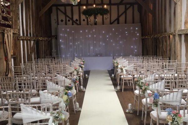Partylights, fairy light, drape canopy at Pitt Hall Barn