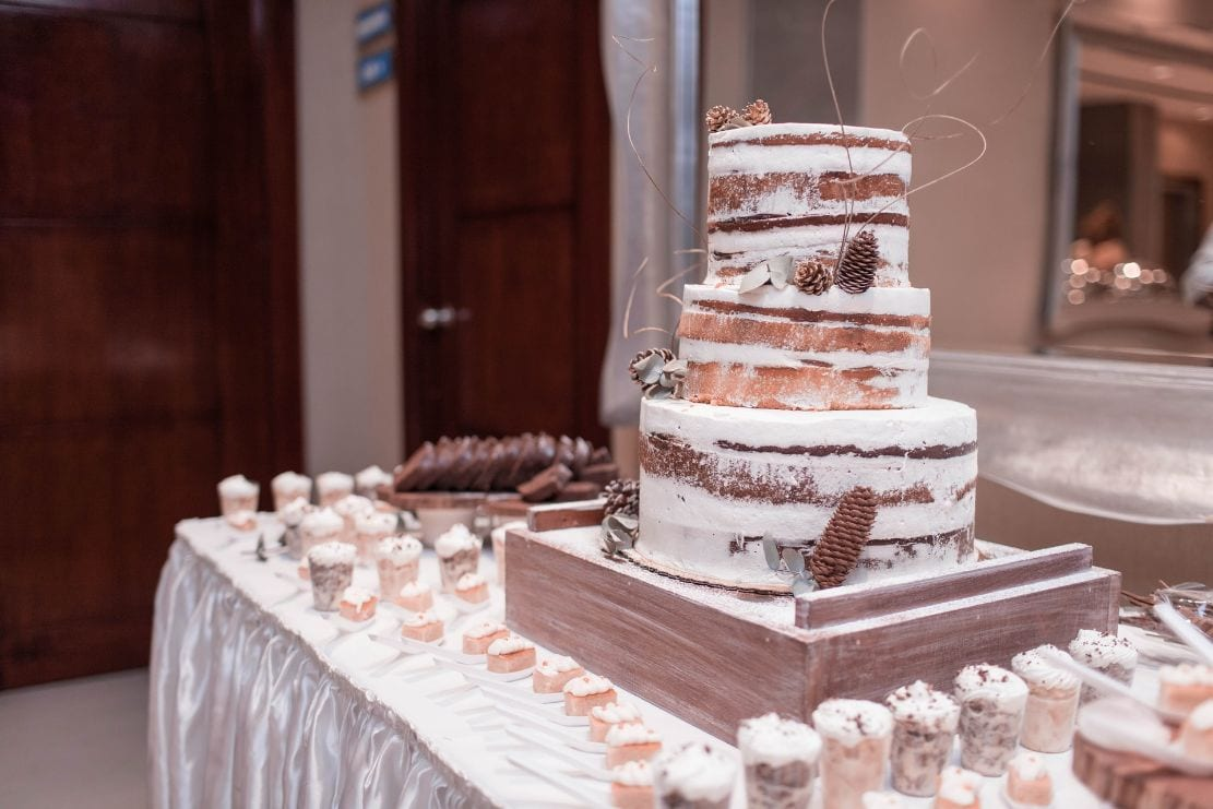 Rustic wedding cake with simply finished icing and pine cones