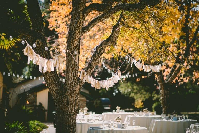 wedding decoration outside bunting